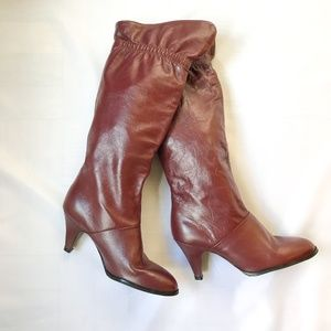 Vintage 80s Cobbies Burgundy Leather Slouch Boots